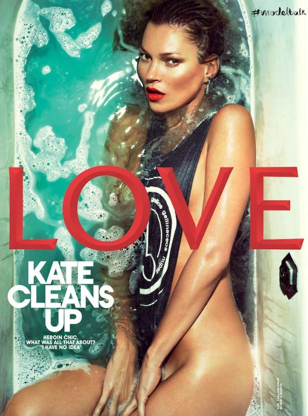 Kate Moss Love magazine Spring 2013 bath cover Modni zalogaj: Kate Moss kao od majke rođena!