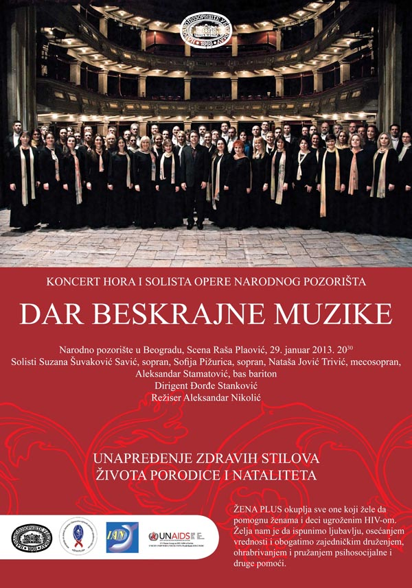 plakatJANUAR 2013 1 Večeras humanitarni koncert u Narodnom pozorištu