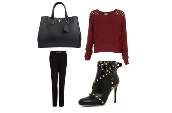 aay Look of the Day: Crna i bordo