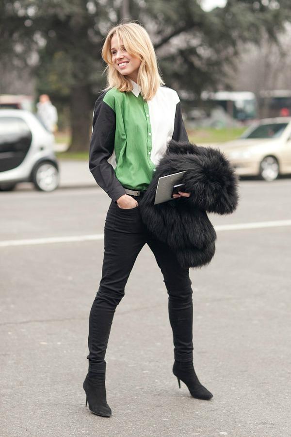 Crno zeleni autfit Moda na ulicama Pariza