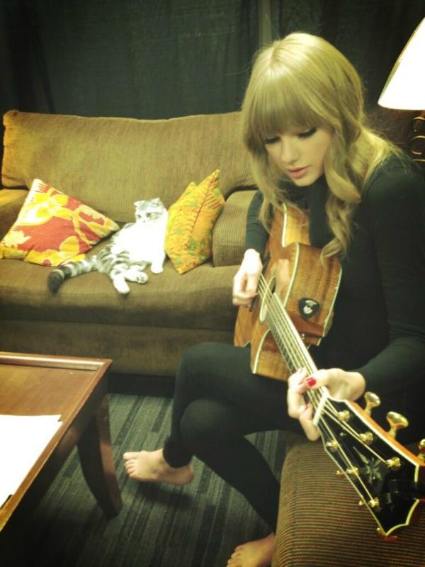 tejlorsvira gitaru na sofi Twitter na crvenom tepihu: Crna ovca, bela ovca?