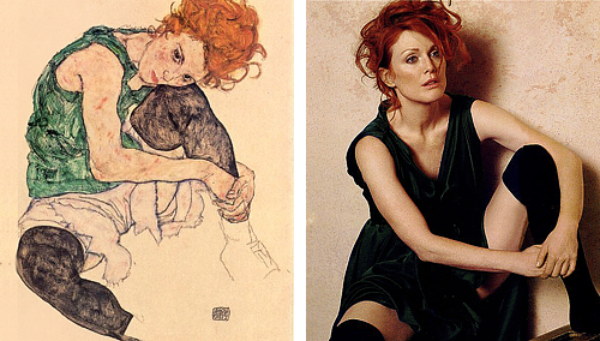 Žena koja sedi sa savijenim kolenom  od Egon Šilea Slike pretočene u fotografije
