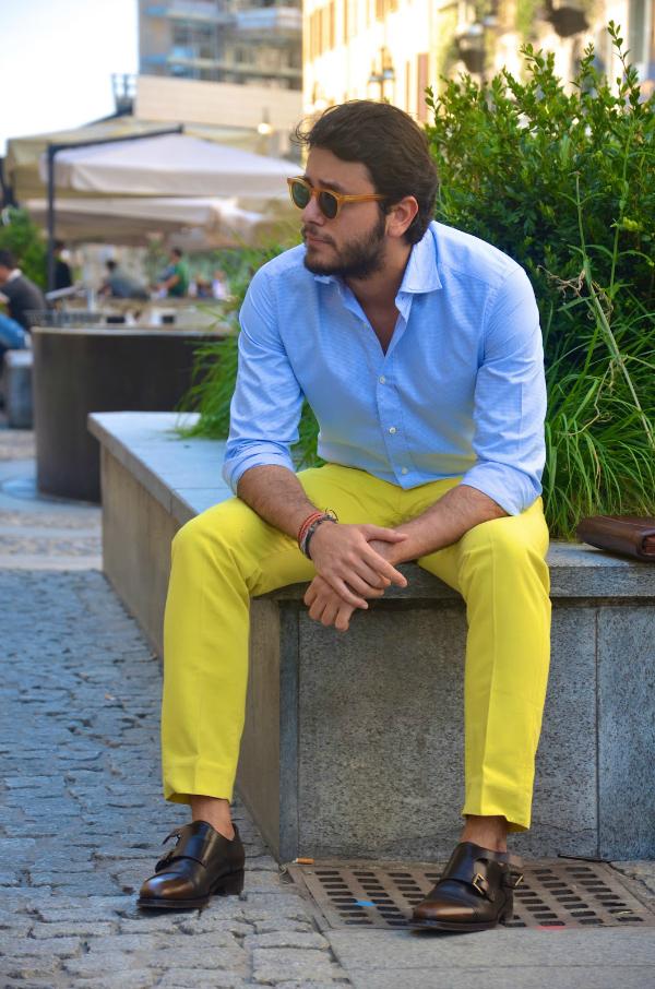 Žute pantalone Muška moda: Sve nijanse plave