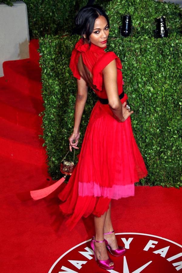 02 Zoe Saldana Prabal Gurung dress Modne trendseterke: Deset glumica u crvenim haljinama