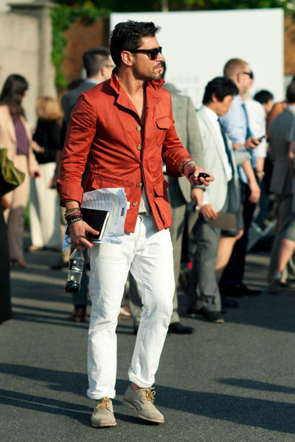 Bele pantalone Muška moda: Vesela narandžasta