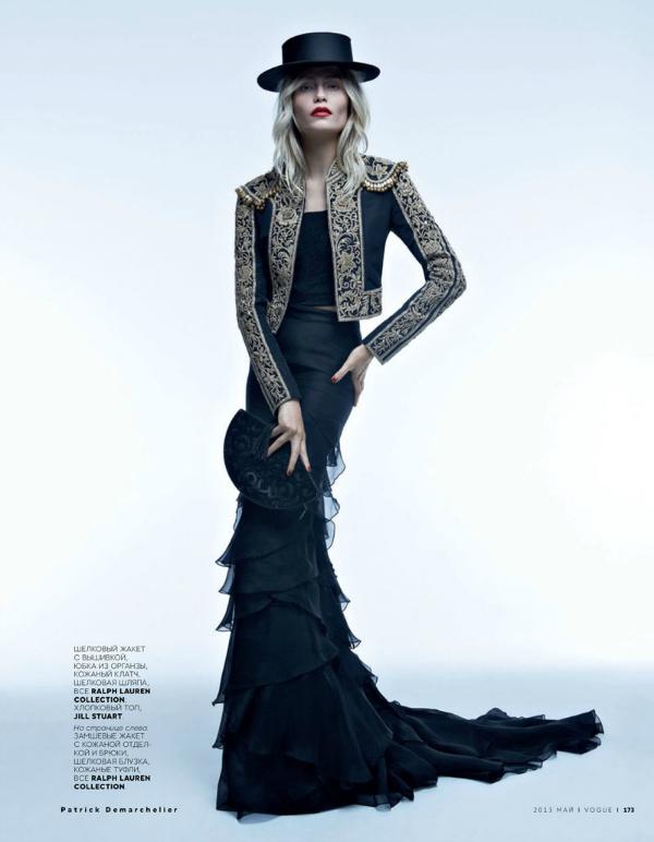 """Crna sa zlatnim detaljima """"Vogue Russia"""": Natasha Poly kao strastvena Španjolka"""