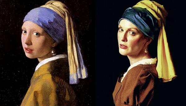 Devojka sa bisernom minđušom  od Johanesa Vermera Slike pretočene u fotografije
