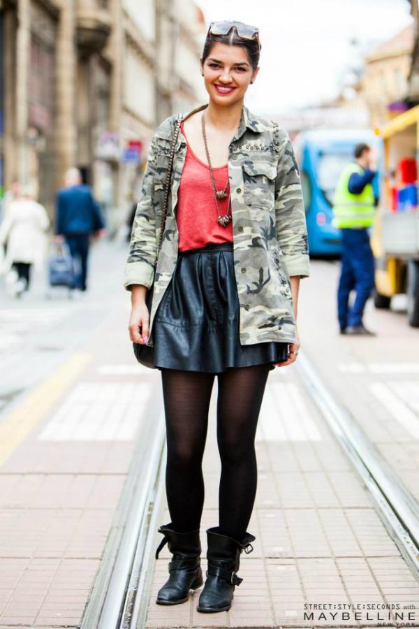 Devojka u jakni s vojnickim printom Street Style: Inspirativni Zagrepčani dočekali proleće