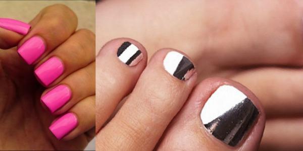 Pink srebrni nokti1 Zabavne kombinacije lakova za ovo proleće