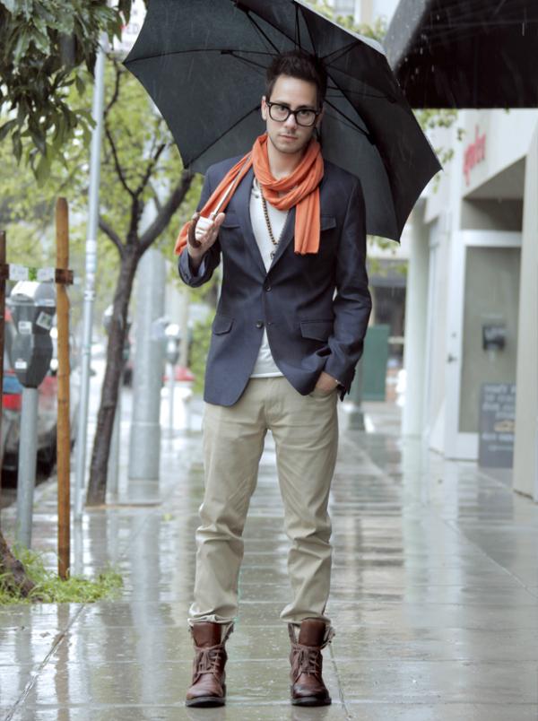 Sa kišobranom Muška moda: Vesela narandžasta