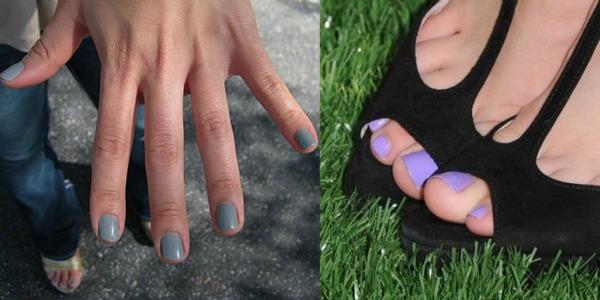 Sivo lila nokti Zabavne kombinacije lakova za ovo proleće