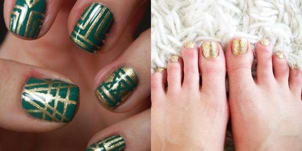 Smaragd zlatni nokti Zabavne kombinacije lakova za ovo proleće