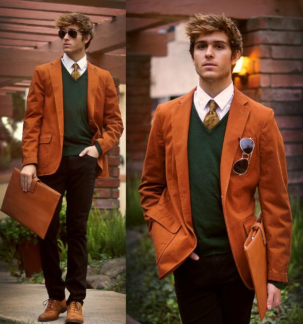 Zeleni džemper Muška moda: Vesela narandžasta