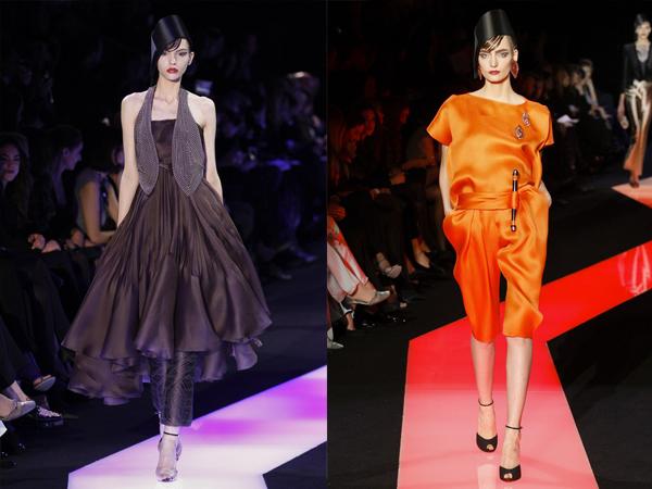 braon komplekt i narandzasti kombinizon slika3 Proleće i leto na modnim pistama: Giorgio Armani Prive