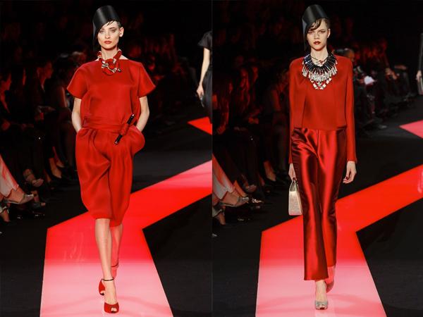 crveni kompleti slika1 Proleće i leto na modnim pistama: Giorgio Armani Prive