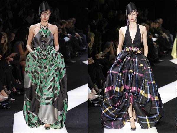 haljne crna sa zelenim i crna sa ljubicastim sarama slika2 Proleće i leto na modnim pistama: Giorgio Armani Prive