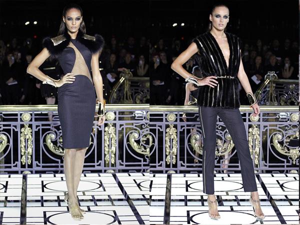 komplet sa naramenicama od krzna i pantalone sa krznenim prslukom slika2 Proleće i leto na modnim pistama: Versace