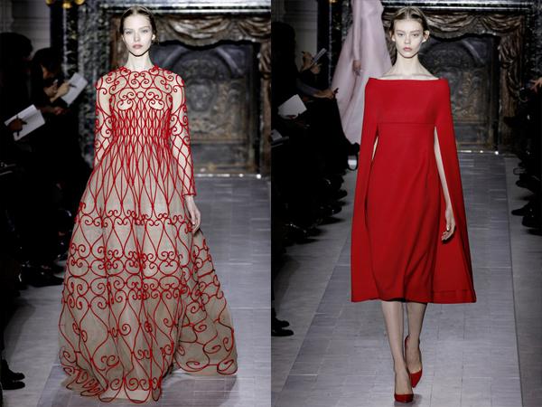 krem haljina sa crvenim vezom i crvena haljina slika1 Proleće i leto na modnim pistama: Valentino