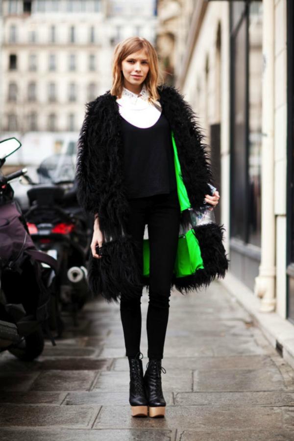 Čupavi kaput Street Style: Elena Perminova