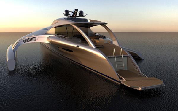 Futuristička jahta u zlatnoj boji Brodovi novog doba: Luksuzne jahte