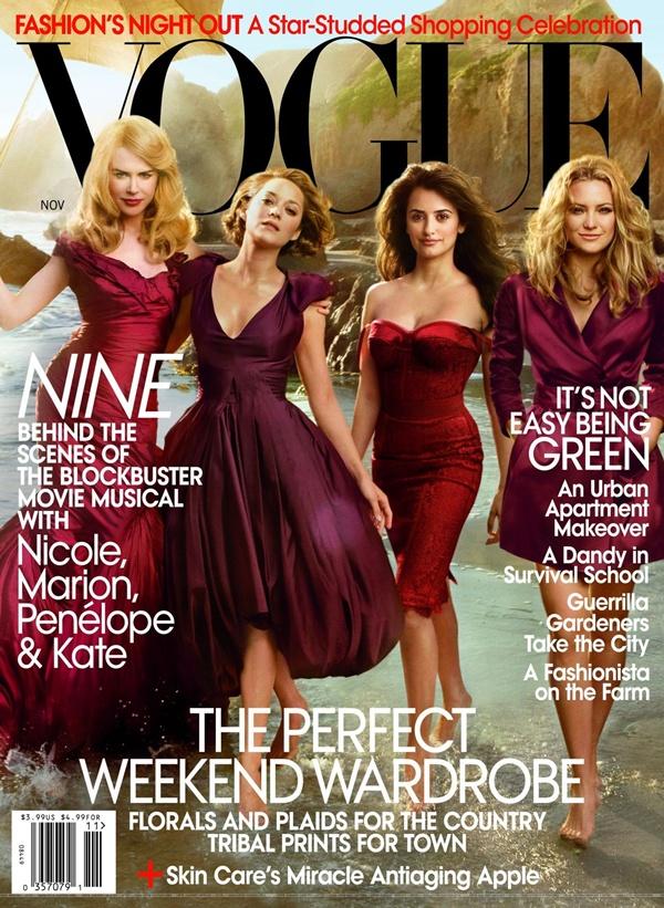 """Glavne glumice filma  Nine  za američki  Vogue  Moda na naslovnici: Glamurozne dive iz filma """"Nine"""""""
