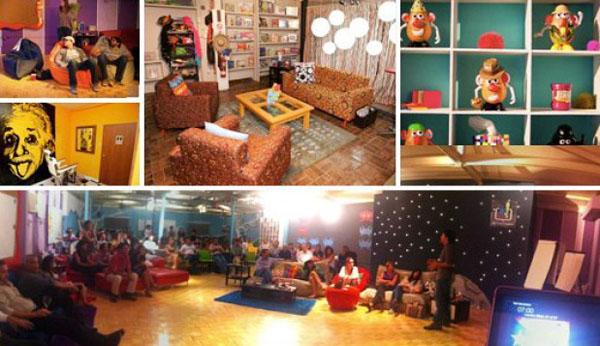 Igračke figure od plastelina i zaposleni na lejzi begovima Poslovni prostori u znaku kreativnosti
