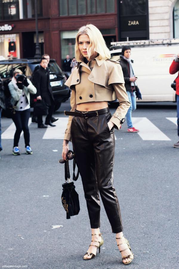 Ko¾ne pantalone Street Style: Elena Perminova