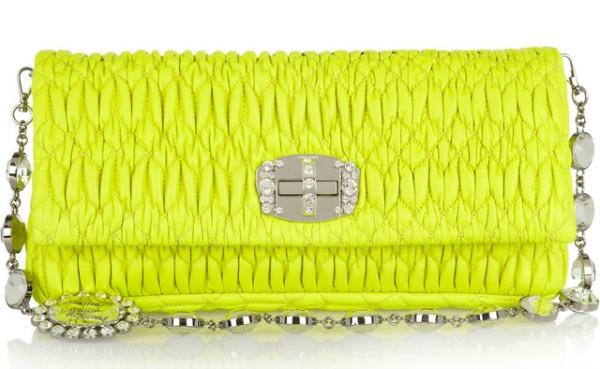 Miu Miu Matalasse Shoulder Bag Prolećne žute torbe