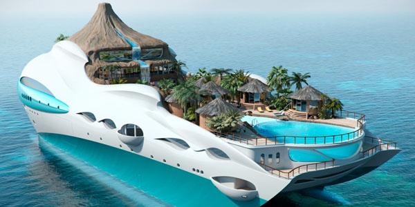 Palme bungalovi i bazen na jahti ostrvu Brodovi novog doba: Luksuzne jahte