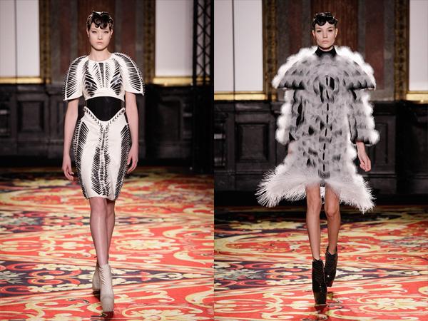 bela haljina sa crnim pojasom i bela cupava haljina slika2 Proleće i leto na modnim pistama: Iris Van Herpen