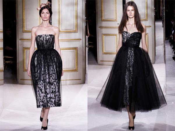 crno bele haljine sa tilom slika2 Proleće i leto na modnim pistama: Giambattista Valli