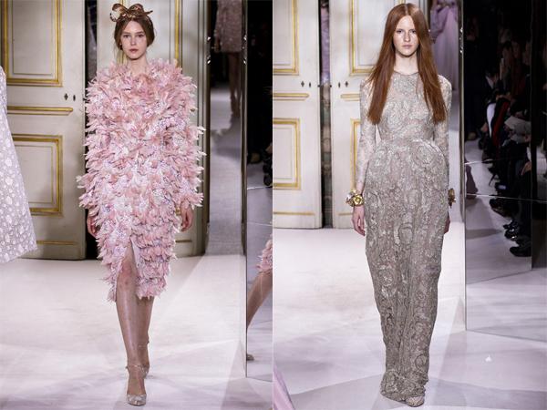 roze haljina od perja i bela haljina Proleće i leto na modnim pistama: Giambattista Valli
