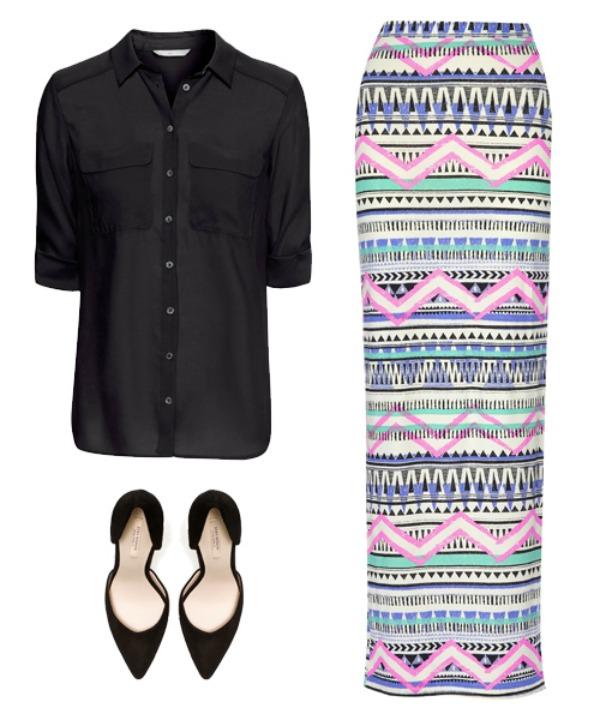 jupe1 Kako možete kombinovati višebojnu maksi suknju