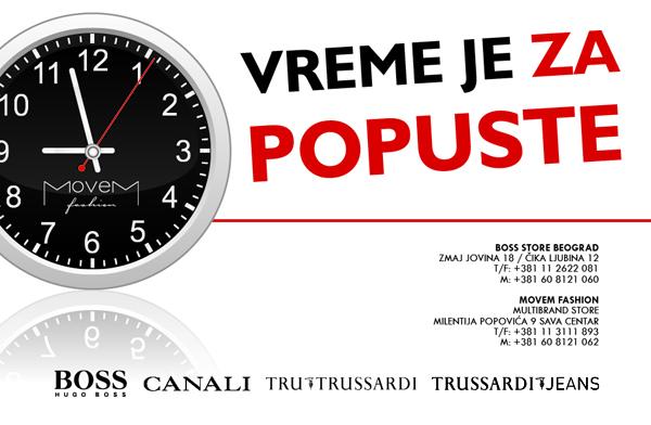 oglas snizenje BOSS Hugo Boss, Canali i Trussardi