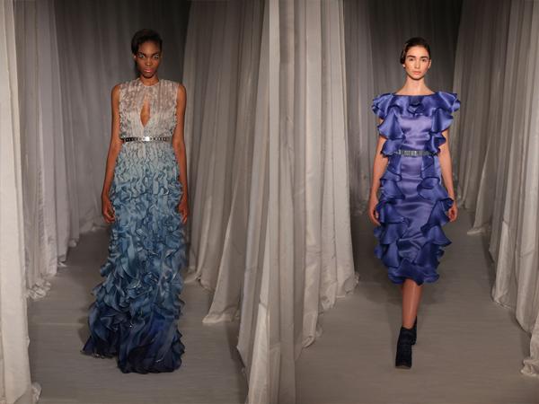 plava i ljubicasta haljina sa naborima slika1 Proleće i leto na modnim pistama: Nicholas Oakwell