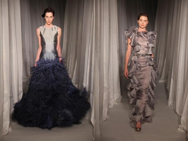 siva haljina sa perjem i siva haljina sa karnerima slika2 Proleće i leto na modnim pistama: Nicholas Oakwell
