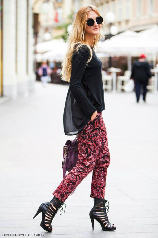 Devojka sa crnim okruglim naocarima i u bordo pantalonama Street Style: Fantastično leto u Zagrebu (2. deo)