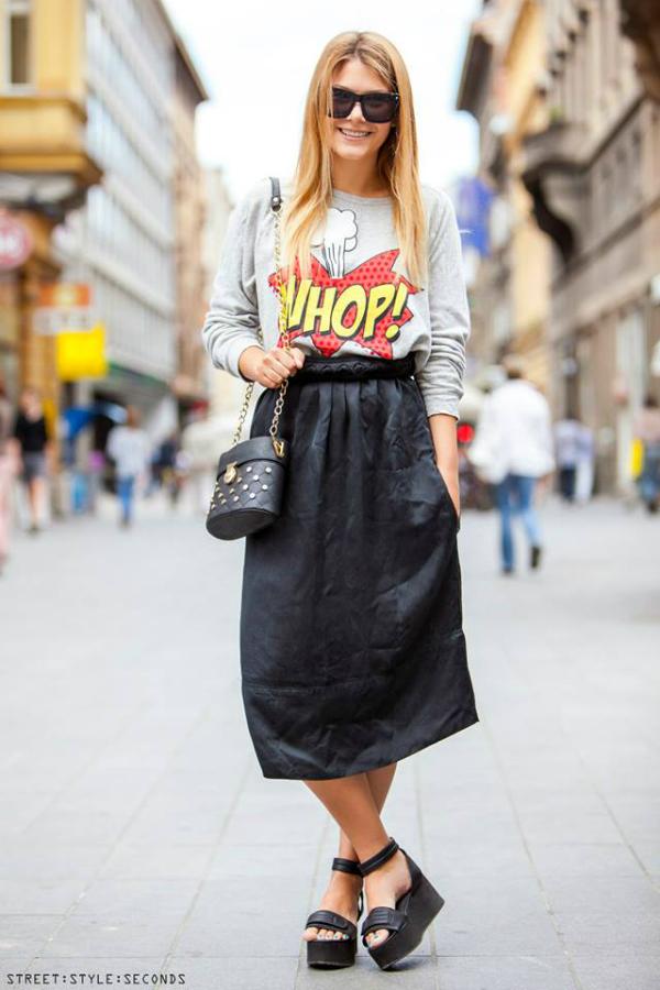 Devojka u duzoj crnoj suknji Street Style: Fantastično leto u Zagrebu (1. deo)