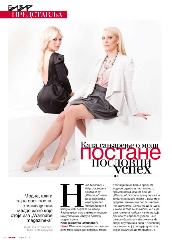 Nina Milovic Nadja Jokanovic Bazar predstavlja: Wannabe Magazine