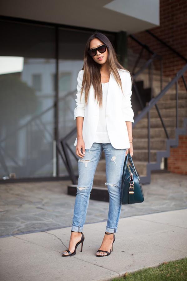 SongofStyle WhiteBlazer RagandBoneJeans Top pet najlepših odevnih kombinacija modnih blogerki