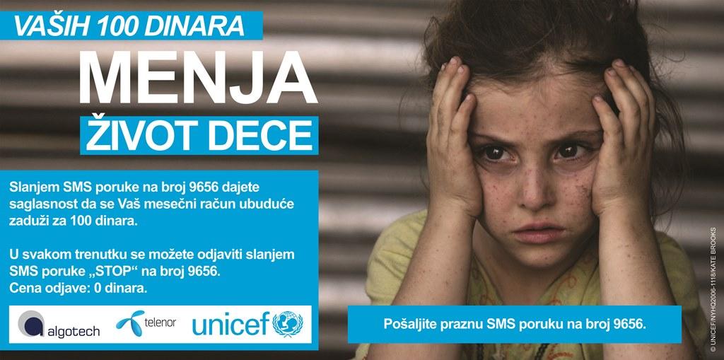 UNICEF Novi SMS servis UNICEF uspostavio novi SMS servis za srećnije detinjstvo