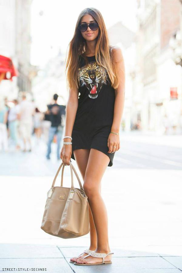 Devojka u crnoj haljini s tigrom Street Style Zagreb: Zbogom, leto! (1. deo)