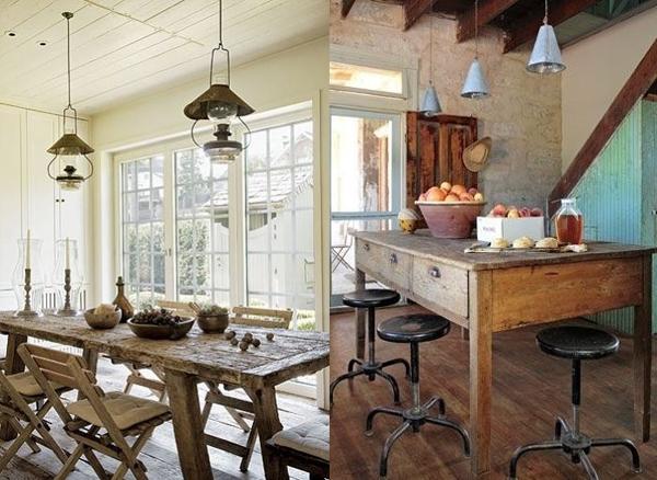Dva velika drvena stola sa lampama iznad Etno trpezarije: Lepota rustičnog