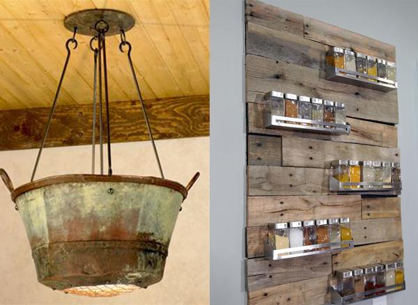 Korito lampa i drvena polica za zacine Etno trpezarije: Lepota rustičnog