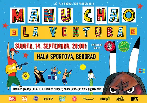 Manu Chao La Ventura Plakat Finalno Manu Čao obećava svirku dužu od dva sata!