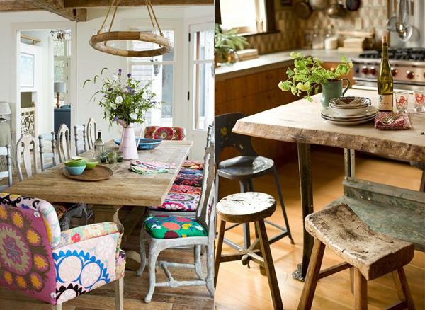 Sarene stolice i kriva drvena hoklica oko dva stola Etno trpezarije: Lepota rustičnog