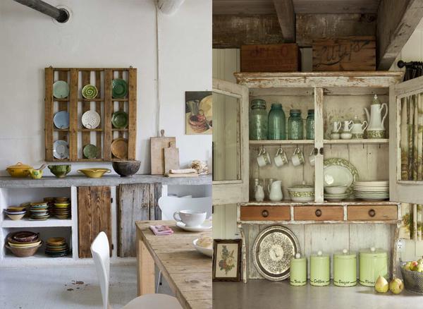 Tanjiri u drvenoj polici i beli otvoren kredenac Etno trpezarije: Lepota rustičnog