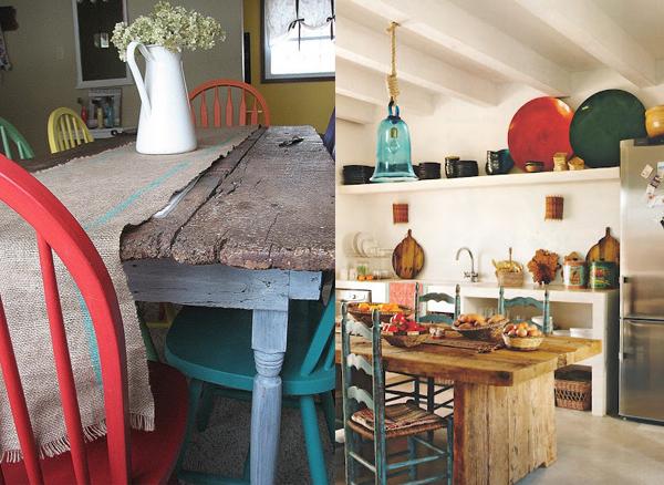 Trpezarijski stolovi sa stolicama u boji Etno trpezarije: Lepota rustičnog