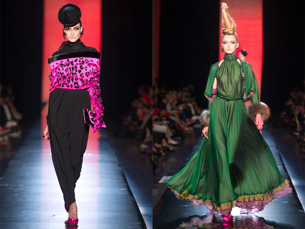 slika3 roze animal print i zelena haljina Jesen na modnim pistama: Jean Paul Gaultier