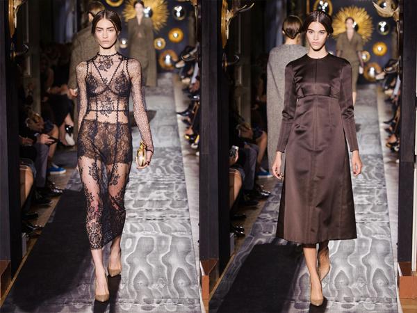 slika4 providna cipkana haljina i braon satenska haljina Jesen na modnim pistama: Valentino